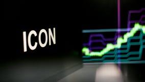 Símbolo de Cryptocurrency do ÍCONE O comportamento das trocas do cryptocurrency, conceito Tecnologias financeiras modernas ilustração do vetor