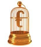 Símbolo de dinero en circulación euro en birdcage de oro Fotos de archivo libres de regalías