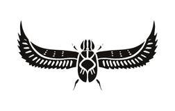 Símbolo de Egito antigo, ícone do besouro Elemento, imagem do esboço, linha inseto da arte Tatuagem instantânea do teste padrão ilustração stock
