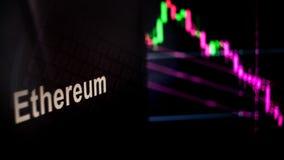 Símbolo de Ethereum Cryptocurrency O comportamento das trocas do cryptocurrency, conceito Tecnologias financeiras modernas ilustração royalty free
