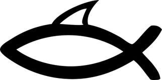 Símbolo de Jesus - peixe de Christ - aleta do tubarão do divertimento Fotografia de Stock Royalty Free
