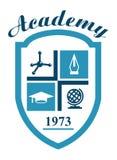 Símbolo de la academia con ciencia stock de ilustración