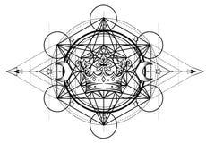Símbolo de la alquimia con la corona real Geometría sagrada, diseño del vintage Diseño de la carne del tatuaje, logotipo de la yo ilustración del vector