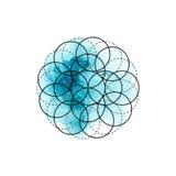 Símbolo de la alquimia y de la geometría sagrada en el fondo azul de la acuarela ilustración del vector
