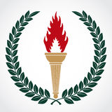 Símbolo de la antorcha con la guirnalda del laurel Imagen de archivo libre de regalías