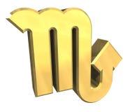 Símbolo de la astrología del escorpión en el oro (3d) Stock de ilustración