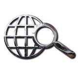 Símbolo de la búsqueda del World Wide Web del cromo fotografía de archivo