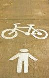 Símbolo de la bici y del carril que recorre Imágenes de archivo libres de regalías