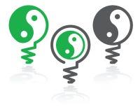 símbolo de la bombilla de Ying-Yang Imágenes de archivo libres de regalías