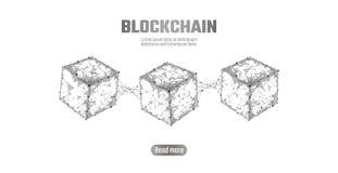 Símbolo de la cadena del cubo de Blockchain en la información grande del flujo de datos del código cuadrado Estilo neutral de la  ilustración del vector