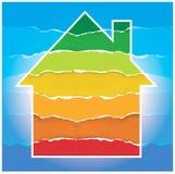Símbolo de la casa con la escala de funcionamiento de la energía Fotos de archivo