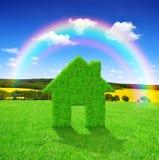 Símbolo de la casa verde Imágenes de archivo libres de regalías