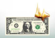 Símbolo de la crisis económica con flamear del billete de dólar ilustración del vector