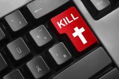 Símbolo de la cruz de la matanza del botón rojo del teclado imagen de archivo libre de regalías