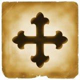 Símbolo de la cruz maltesa en el papel viejo fotos de archivo libres de regalías