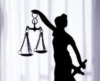 Símbolo de la estatua del metal de la justicia Themis Fotografía de archivo