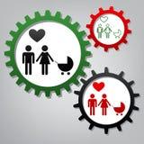 Símbolo de la familia con el cochecito de niño y el corazón El marido y la esposa son eac guardado libre illustration