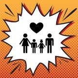 Símbolo de la familia con el corazón El marido y la esposa son el ` guardado s h de los niños stock de ilustración