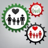 Símbolo de la familia con el corazón El marido y la esposa son el ` guardado s h de los niños ilustración del vector