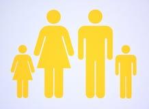 Símbolo de la familia nuclear que consiste ambos padres y dos niños Fotografía de archivo libre de regalías