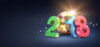 Símbolo 2018 de la Feliz Año Nuevo para la tarjeta de felicitación Fotos de archivo libres de regalías