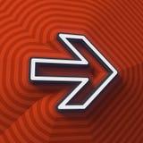 Símbolo de la flecha, botón con la sombra Muestra colorida representación 3d stock de ilustración