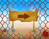 Símbolo de la flecha de la dirección en red roja y azul de madera y quebrada Imagen de archivo libre de regalías
