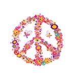 Símbolo de la flor de la paz con las flores, las setas y los ojos abstractos stock de ilustración