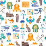 Símbolo de la historieta del fondo inconsútil del modelo de Egipto Vector Fotos de archivo
