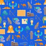 Símbolo de la historieta del fondo inconsútil del modelo de Egipto Vector Foto de archivo libre de regalías