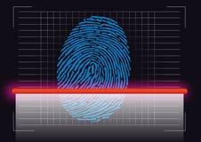Símbolo de la huella dactilar tomado de una escena del crimen que se explora para identificar la sospecha libre illustration