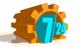 Símbolo 7, 24 de la insignia de la sincronización Imagen de archivo libre de regalías