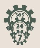 Símbolo 7, 24 de la insignia de la sincronización Imagen de archivo