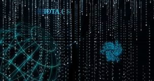 Símbolo de la iota que brilla intensamente MIOTA contra símbolos descendentes del código binario almacen de metraje de vídeo