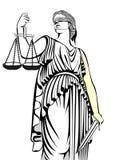 Símbolo de la justicia Themis igualdad Un juicio justo Ley ilustración del vector