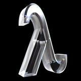 Símbolo de la lambda en el vidrio (3d) Foto de archivo libre de regalías