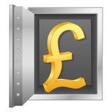 Símbolo de la libra británica de la caja fuerte y del oro de la batería ilustración del vector