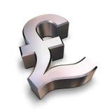 símbolo de la libra del cromo 3D Fotos de archivo