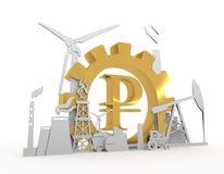 Símbolo de la libra e iconos industriales Imagen de archivo libre de regalías