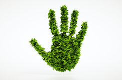 Símbolo de la mano de la hoja de la ecología Foto de archivo libre de regalías