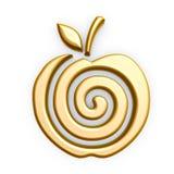 Símbolo de la manzana del oro Imagen de archivo libre de regalías