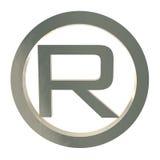 Símbolo de la marca registrada de la letra R aislado en blanco Fotos de archivo