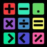 Símbolo de la matemáticas en fondo negro Foto de archivo