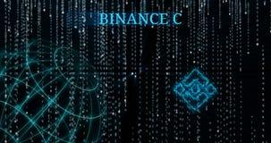 Símbolo de la moneda BNB de Binance que brilla intensamente contra símbolos descendentes del código binario almacen de video