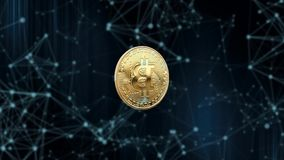 Símbolo de la moneda virtual en el fondo de partículas animación 3D animación 3D Bitcoin giratorio en un extracto stock de ilustración
