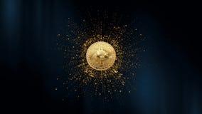 Símbolo de la moneda virtual en el fondo de partículas animación 3D animación 3D Bitcoin giratorio en un extracto ilustración del vector