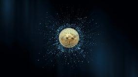 Símbolo de la moneda virtual en el fondo de partículas animación 3D animación 3D Bitcoin giratorio en un extracto libre illustration