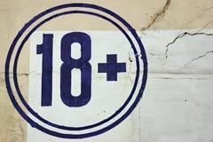 Símbolo de la muestra de la restricción de la edad 18+ Imagen de archivo libre de regalías