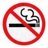 Símbolo de la muestra de no fumadores de la zona con el fondo del humo fotografía de archivo libre de regalías