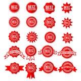 Símbolo de la muestra del superventas - el sistema rojo del icono del premio del bestseller protagoniza etiquetas engomadas stock de ilustración